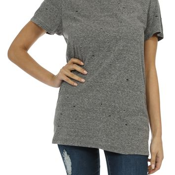 Teeze Me | Women's Short Sleeve Round Neck Distressed Basic Tee | Charcoal