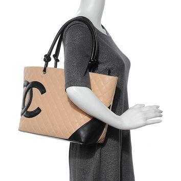 Chanel Cambon Ligne Quilted 219628 Beige X Black Tote Bag