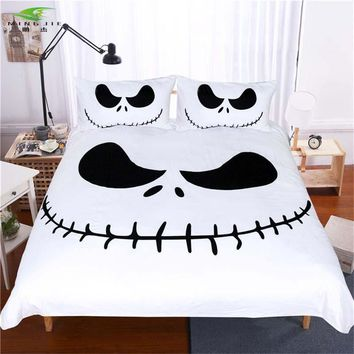 New 3D Black and White Bedding Set Nightmare Before Christmas Cool Printed Bed Linen Soft Duvet Cover with Pillow Case For Adult