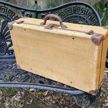 Antique Tweed Stackable Suitcase Straw Luggage