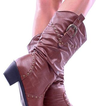BROWN FAUX LEATHER ROUND STUDS BUCKLE ACCENT COWBOY STYLE BOOTS