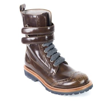 Brunello Cucinelli Brown Leather Wingtip Combat Boots