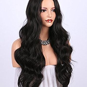 K'ryssma Dark Brown Synthetic Wigs for women - Natural Looking Long Wavy Right Side Parting Heat Resistant Replacement Wig 24 inches (#2)