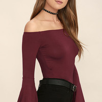 Flirt Factor Wine Red Off-the-Shoulder Top
