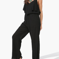 Black V-neck Backless Jumpsuit