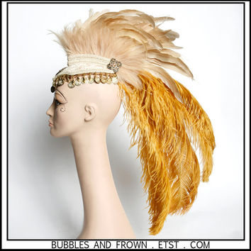 Milk and Honey... .... Feather Headdress with Coin Trim