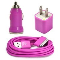Amazon.com: Case Star ® Hot Pink USB Wall Charger + USB Mini Car Charger + 6Ft Long USB Charge and Sync Data Cable for iPod touch iPod nano iPhone 3G 3GS 4 4S with Case Star Velvet Bag: Computers & Accessories