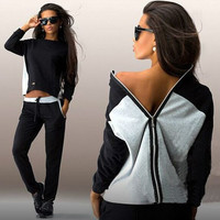 Fashion stitching zipper sweater