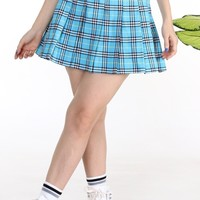 Pre Order - Light Blue Tartan Pleated Skirt By GFD