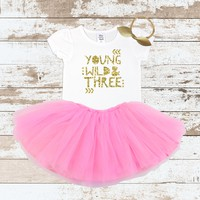 Gold Young Wild & Three Pink Tutu Outfit