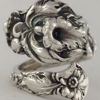 Size 9.5 Vintage Solid Sterling Floral Spoon Ring