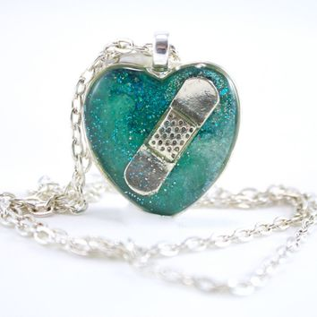 Teal Bandaid Necklace