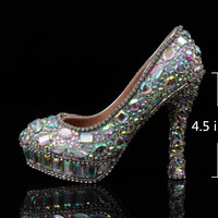 2015 Korea Style wedding shoes, AB crystal bridal shoes, bling prom shoes in handmade