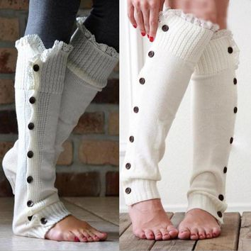 Knee-high boots set of buttons lace knitting wool knitted socks leg warmers