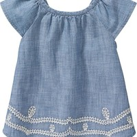 Old Navy Flutter Sleeve Chambray Tops For Baby