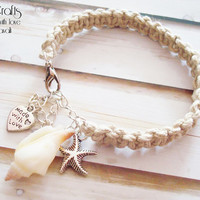 Natural hemp bracelet with seashell, starfish charms