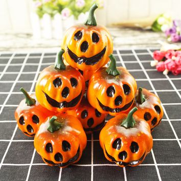 12 pcs Simulation Artificial Lifelike Small Foam Pumpkins Carved Face Table Centerpiece Photo Props Halloween Decoration Party