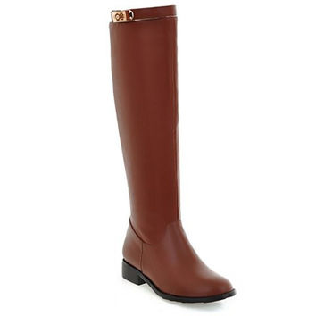 Knee-High Zippered Boots With Metal Design