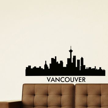 Wall Decal Vinyl Sticker Vancouver Skyline City Scape Silhouette Decor Sb118
