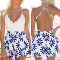 Cross-Back Lace Paneled Romper