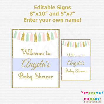 Baby Shower Welcome Sign, Pink Mint Gold Baby Shower Girl Boy, Editable Welcome Sign, Baby Shower Decorations Printable, Download, TASPMG