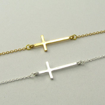 Horizontal Cross Bracelet / 18k Gold or Silver Cross Bracelet