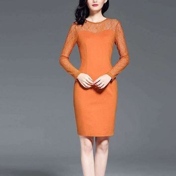 DCCKON3 2018 new plus women and warm dress knitting long sleeve business ol dresses for lady Knee-Length Dress Work Dress