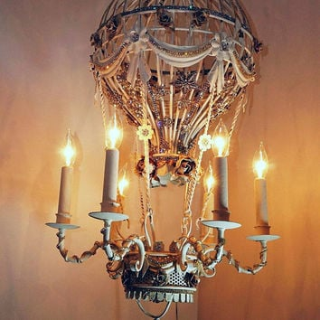 Shop hot air balloon jewelry on wanelo hot air balloon chandelier lighting white embellished high end rhinestone vintage antique jewelry ornate light ooak mozeypictures Images