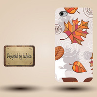 Iphone case, Iphone 4 case, Iphone 4s case, Iphone 5 case, unique handmade hard Plastic case, Brown hand-painted leaves,p 111
