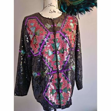Women's Vintage Sequin Jacket by Ellen Boyd