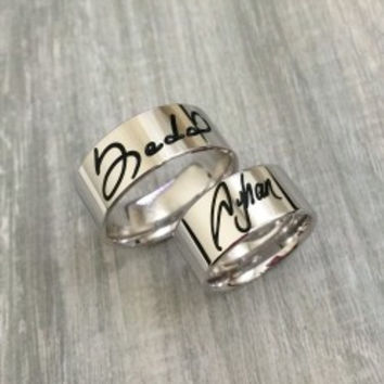 Custom Handwriting Signature Couple Silver Band Rings