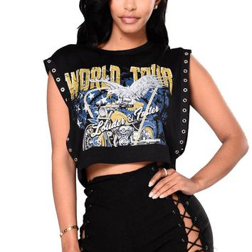 Print Sleeveless Crop Top with Straps Hollow Out Short Two Pieces Set
