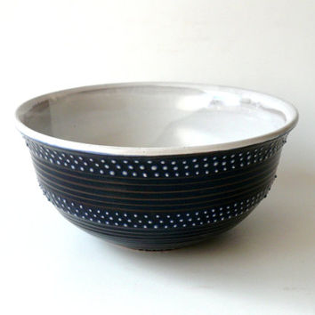 Ceramic Serving Bowl in Dark Blue and Satin White with White Dots, Black and White, by Cecilia Lind, crowwhitepottery
