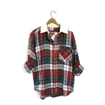 Vintage Plaid Flannel Grunge Shirt Boyfriend Tomboy Shirt Soft Button Up Slouchy Boho Shirt Womens Small