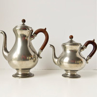 Antique Pewter Coffee Pot Tea Pot Set, Holland, Carved Wood Handle