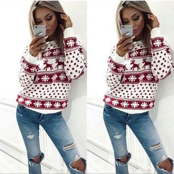 2018 Women Winter Ugly Christmas Sweater Jumper Sweater Pullover Tops Couples Pullover Novelty Christmas Sweater Pull Femme