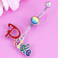 Fashion Lettered Belly Button Ring - Pride - 316L Stainless Steel