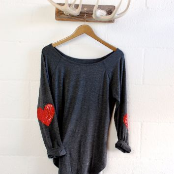 Charcoal Grey Red Sequin Heart Elbow Patch Slouchy