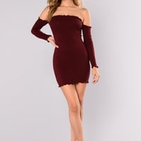 Smock Or Slay Dress - Burgundy
