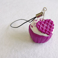 Purple Cupcake Phone Charm by CapricaAccessories on Etsy