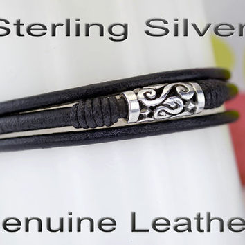 B-294 Men Gift Jewellery Sterling Silver & Leather New Wristband Men Bracelet