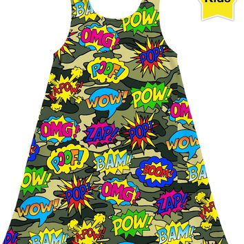 Camo Pop Art Super Hero Kids Dress