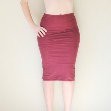 Hand Dyed Double Layered High Waist Pencil Skirt in Stretch Knit Cotton - Fitted Pencil Skirt - Wear 2 Ways - Sizes XS, S, M, L, and XL