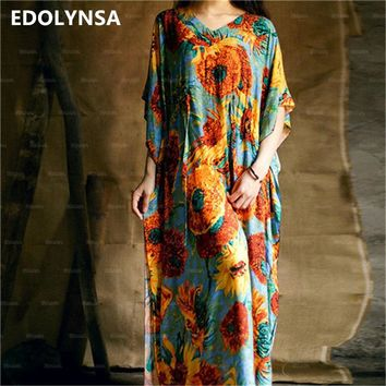 2018 Bohemian Beach Kaftan Ethnic Cotton Rayon Maxi Dress Women Vintage V-neck Tunic Boho Casual Floral Printed Long Dress #A175