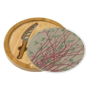 Red twigs, pastel drawing nature art tree branches cheese board
