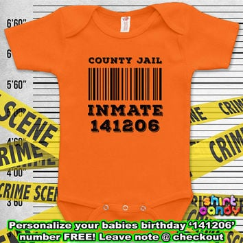 County Jail Inmate Costume Funny Baby Prison Outfit Bodysuit One Piece Infant Clothes Romper Baby Boy Unique Shower Gift For Her Birthday