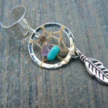 dreamcatcher ear cuff turquoise and amethyst cross cuff in boho gypsy hippie hipster native american and tribal style
