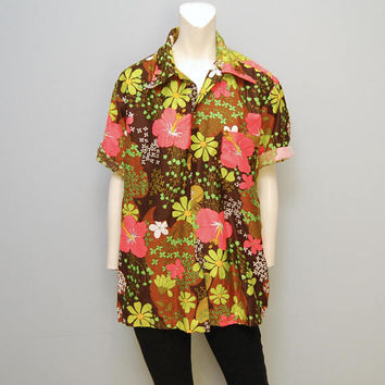 Vintage Hukilau Fashion Men's Hawaiian Button Down Shirt - Size L or XL - Brown with Neon Pink Flowers - Floral Dress Shirt Mid Century