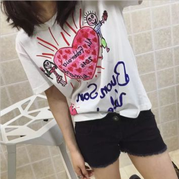 Summer new big posters pants funny cartoon hand painted graffiti loose thin love short sleeve T shirt female