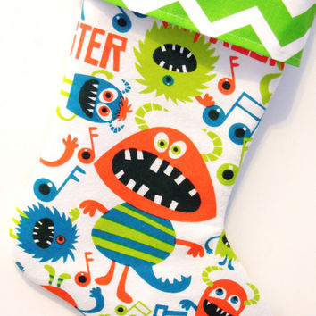 Monster Stocking, Monster Jam Stocking, Cute Monsters, Christmas Monsters, Christmas Stocking, Boy's Stocking, Children's Stocking